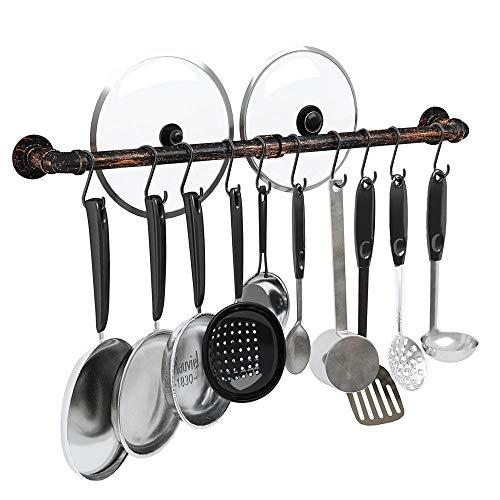 Greenstell Küchenutensilienhalter mit 14 Haken, abnehmbare Küchenleiste und Küchenregal für...
