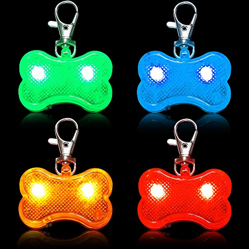 Frienda 4 Pieces Dogs Collar LED Tag Glow in The Dark Dogs Collar ID Tags Waterproof Dog Bone Tag Light Pet Safety Night Walking Lights for Dogs Night Time Walking Camping (Assorted Colors)
