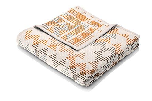 Biederlack Wohn- und Kuscheldecke, 60 % Baumwolle, Samtband-Einfassung, 150 x 200 cm, Natur, Visiona Cotton Curve, 647610