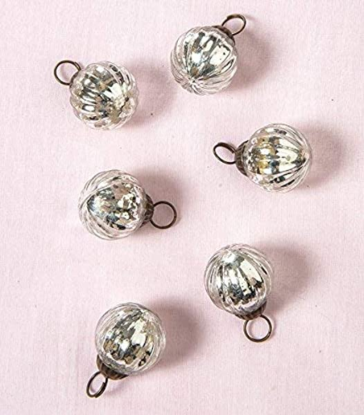 Luna Bazaar Mona Design Mercury Glass Ornaments Vintage Style Decorations For Home Or Holiday D Cor Set Of 6 Mini Silver