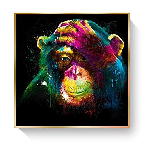 KWzEQ Imprimir en Lienzo Doodle Monkey Wall Art Picture decoración del hogar para Carteles de Sala de estar70x70cmPintura sin Marco