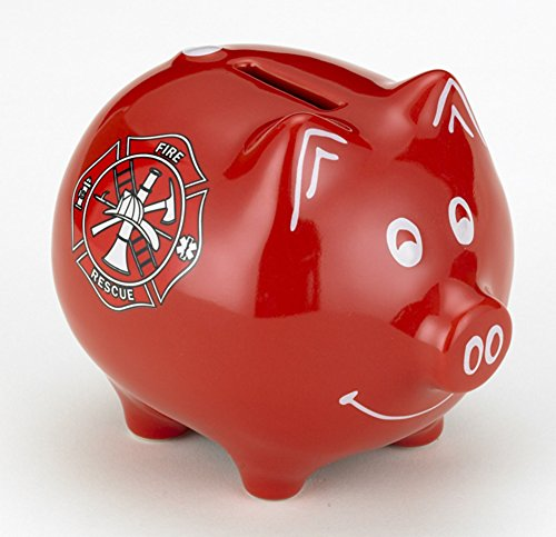 M. CORNELL IMPORTERS Red Fire Fighter Piggy Bank