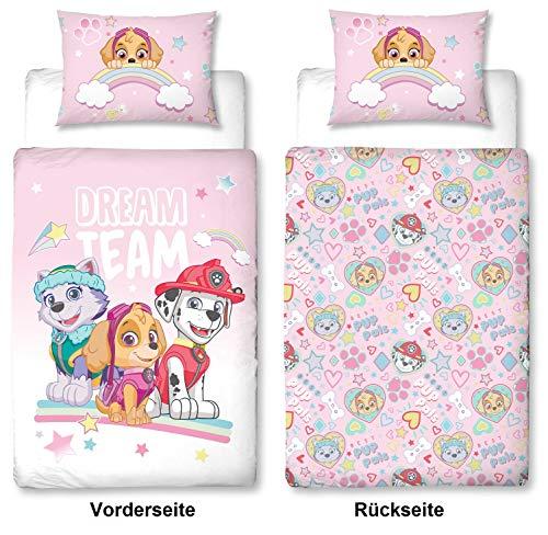 Character World PAW Patrol rosa Baby-Bettwäsche Set, Wendemotiv, Bett-bezug 100 x 135 cm, Kopfkissen-bezug 40 x 60 cm, Baumwolle/Renforcé