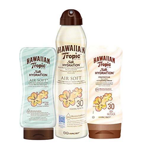 Hawaiian Tropic PACK Silk Hydration AfterSun - Kit de Protección Solar, Incluye Loción Corporal Protectora SPF 30 + Spray Bruma Corporal SPF 30 + Crema After Sun SPF 30