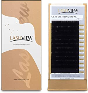LASHVIEW Eyelash Extensions,Individual Lashes, 0.15 Thickness D Curl Mixed..