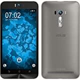 PhoneNatic Case kompatibel mit Asus Zenfone Selfie - grau Silikon Hülle Slimcase + 2 Schutzfolien