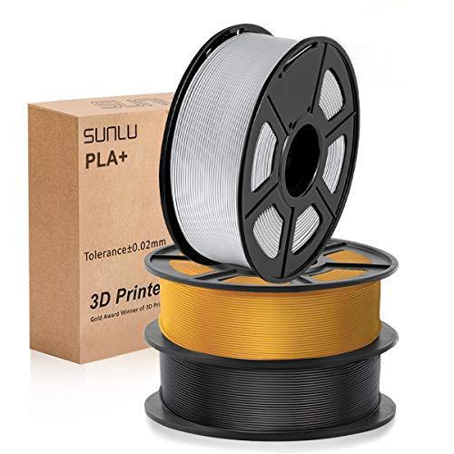 PLA Filament 1.75mm, SUNLU PLA plus Filament for 3D Printer, Dimensional Accuracy +/- 0.02 mm, PLA+ Black+Light Gold+Silver 1KG