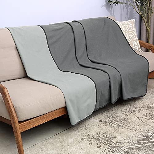Catalonia Classy Wasserdicht Decke, Tagesdecke Bett Sofaüberwurf Kuscheldecke Schonbezug Couchschoner Wasserabweisend Wohndecke Überwurf Fleece Decke for Bett Couch Sofa 203x152cm, Grau
