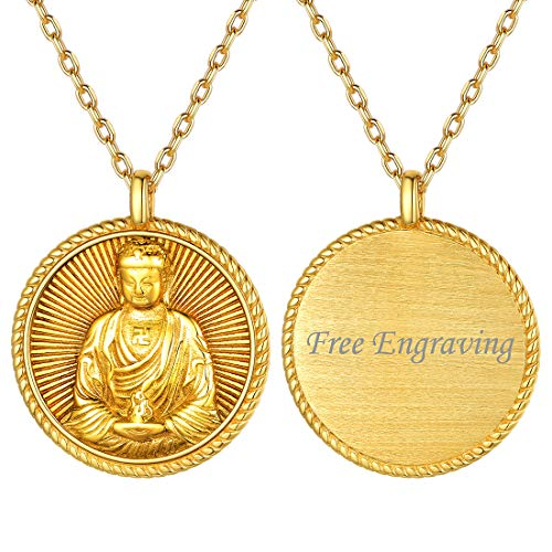 Men Buddha Necklace Amitabha Buddhism Pendant 18K Gold Plated Sterling Silver Chinese Zodiac Constellation Bodhisattva Amulet Talisman Lucky Coin Medal Pendant Necklaces Zen Jewelry