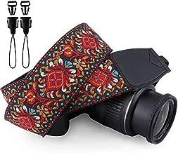 Wolven Vintage Jacquard Weave Camera Neck Shoulder Strap Belt Compatible with All DSLR/SLR/Digital Camera (DC)/Instant Camera/Polaroid etc, Red Classic Floral