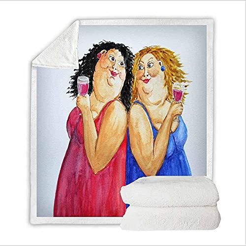 Coperta In Pile Fidanzata Donna Grassa 3D Con Stampa per Bambini Adolescenti Adulti Morbida Coperta per Letto Vacanza Divano,Regalo Di Compleanno Ideale 150X200Cm