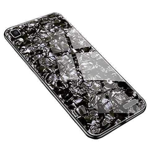 SHIEID Hülle für Oppo R7 Hülle,Marmor Gehärtetem Glas und Silikon Rand Hybrid Hardcase Stoßfest Kratzfest Handyhülle Dünn Hülle Cover für Oppo R7 (Schwarz)