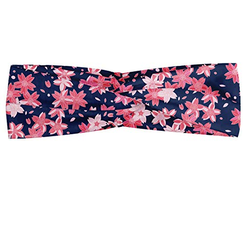 ABAKUHAUS Abakuus - Foulard banane bleu marine et blush - Motif printanier de sakura - Élastique et confortable - Accessoire de tous les jours - Bleu foncé/rose corail