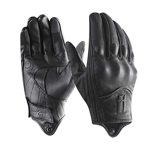 Harssidanzar Mens Full Finger Goatskin Leather Touchscreen Motorcycle Gloves Upgrade GM028,Black,Size L