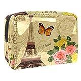 Trousse per trucchi in PVC portatile da viaggio, trousse con borsa da viaggio, impermeabile, organizer per donne e ragazze, gialla con torre di Parigi, fiore farfalla