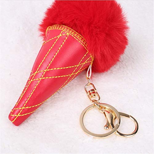 OSYARD Schlüsselanhänger,Keychain,Eiscreme Kunstfell Ball Schlüsselbund Rucksäcke Handtaschen Tasche Anhänger Damen Dekor Zubehör Plüsch Autoschlüssel Ring Schlüsselringe Keyring