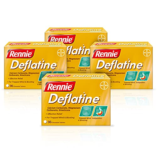Rennie Deflatine, Trapped Wind and Bloating Tablets, Fast and Effective Heartburn Relief and Indigestion Relief, Sugar Free Mint, 4 Packs of 36 Tablets