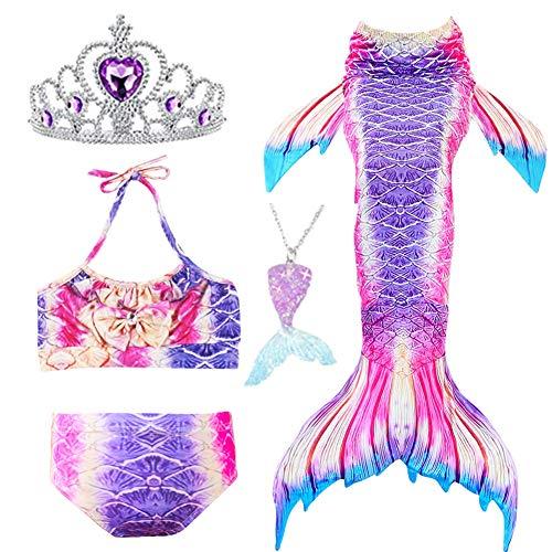 Swimmable Mermaid tail Bikini 5PCS no Monofin Princess Girls Kids swimwear Cosplay