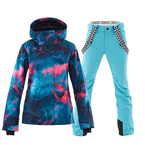 Women's Ski&Snowboarding Jacket Pants Set Windproof Waterproof Snow Jacket (M, style-8)