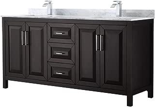 Wyndham Collection Daria 72 inch Double Bathroom Vanity in Dark Espresso, White Carrara Marble Countertop, Undermount Square Sinks, and No Mirror
