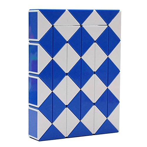 MZStech Magic Serpiente Twist Puzzle Twisty Toy Colección 48 cuñas Magic Ruler (Azul)