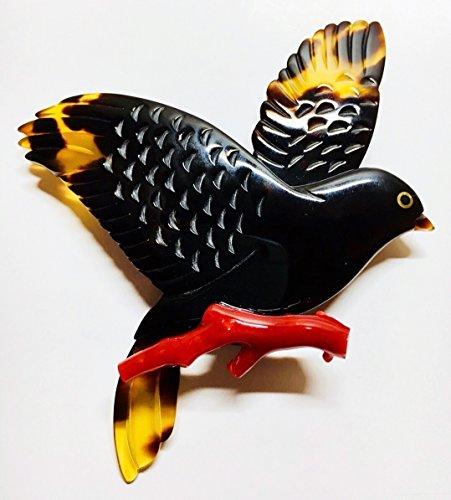 天然工房 べっこう屋さん 本べっ甲 ブローチ バラフ 鳥 & 珊瑚 赤 枝 付き エレガント デザイン 300406-B1