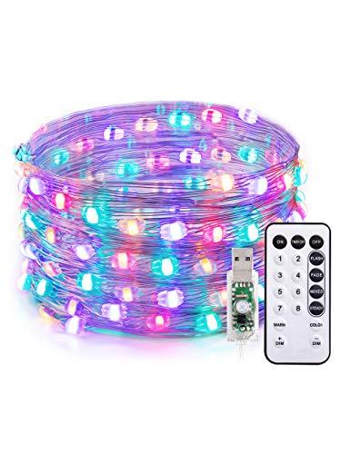 TaoTronics 100 LED Lichterkette Outdoor Garten Dekoration Warmweiß + RGB Farbweckseln 10M Draht Wasserdicht Stimmungslichter, 12 Farbmodi und 5 Helligkeitsstufen
