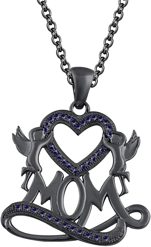 HN Jewels Mom Heart Pendant 18 Chain Necklace 1.35 Ct D//VVS1 Diamond In 14K Black Gold Plated Silver