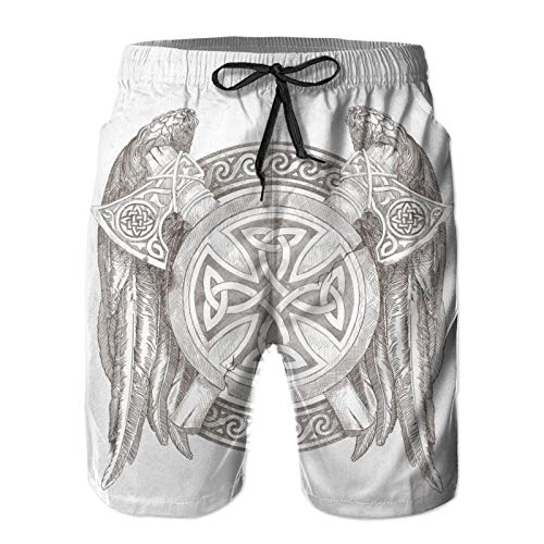 Celtic National Ornament Men's Board Shorts Quick Dry Swim Trunks Beach Shorts with Pockets White