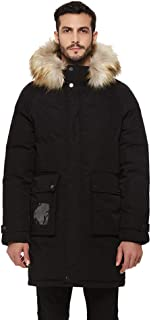 Men's Heavy Duty Hooded Winter Parka Down Jacket Puffer Coat with Removable Faux Fur Trim