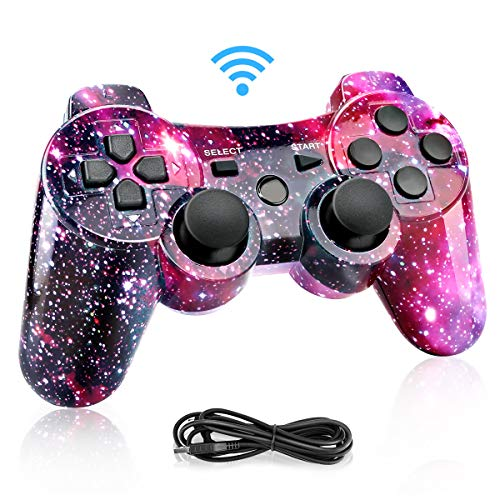 Powcan PS3 Controller, Wireless Controller für PS3,Bluetooth Gamepad Joystick,Dual-Vibration 6-Achsen Gaming Controller mit Ladekabel für PS3 Controller PC und Windows 7/8/ 9/10 (Purple)