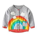 Mud Kingdom Cute Baby Boy Cardigan Thin Spring 24 Months Gray Rainbow and Clouds
