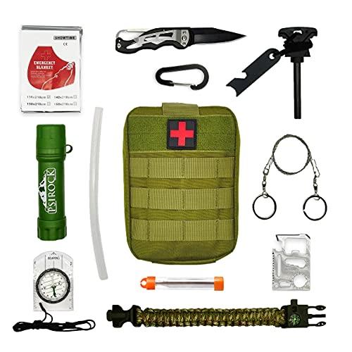 Kit supervivencia montaña Kit de supervivencia profesional | Navaja multiusos Pedernal supervivencia accesorios | Bushcraft Vivac Acampada | Filtro potabilizador de agua portátil | Survival kit
