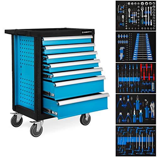 EBERTH Werkstattwagen blau inkl. Werkzeug (7 kugelgelagerte Schubfächer, 5 Schubladen mit Werkzeug bestückt, abschließbar, 2 Lenkrollen, Feststellbremse, pulverbeschichtet)