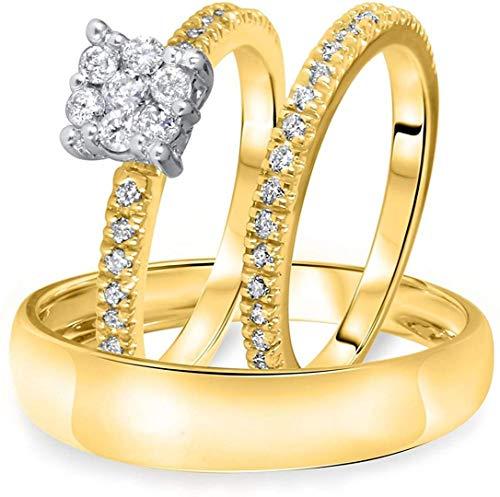 Triostar Juego de anillos de boda de oro amarillo de 14 quilates sobre plata 925, Piedra Metal, Cubic Zirconia,