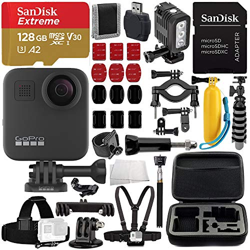 GoPro MAX 360 Action Camera Deluxe Bundle Includes: SanDisk Extreme 128GB microSDXC Memory Card + Underwater LED Light + Carrying Case, and More