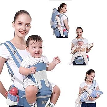 Foto di SaponinTree Marsupio Neonato Ergonomico con Sedile, Cotone e Traspirante con Imbottitura, Multiposizione con Cappuccio Rimovibile, Per Bebe e Bambino da 0 a 4 anni