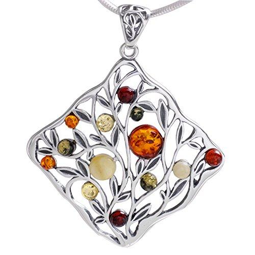 Maria Schmuck Damen Herren Bernstein Lebensbaum Weltbaum Amulett Anhänger aus 925 Sterling Silber