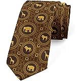 Cravatta, sagome di animali circolari, marrone terra giallo