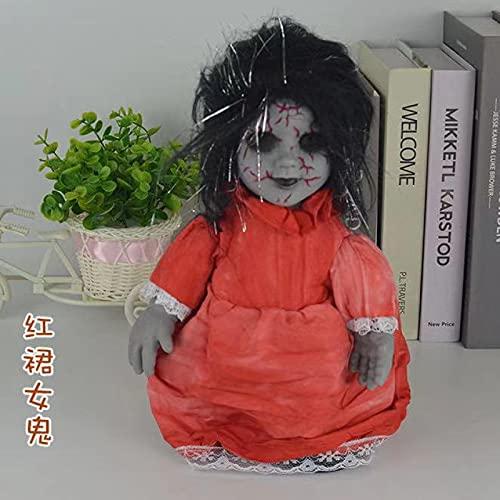 Wegji Halloween Horror Electric Walking Ghost Doll Control de voz de inducción rojo