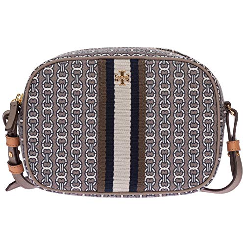 Tory Burch Women's Gemini Link Canvas Mini Bag Gray Heron Cross Body Handbag