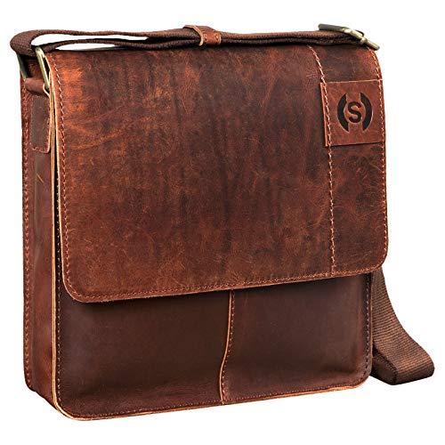 STILORD 'Mirco' Bolsa Bandolera Cuero para iPad Tablet de hasta 9,7 Pulgadas Bolso Mensajero Hombre y Mujer Bolso Trabajo Bolso Oficina auténtica Piel, Color:Mocca - marrón Oscuro