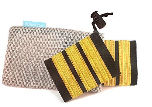 burdiy First Officer Gold (3 Streifen) - 1 Paar Deluxe Rangabzeichen Pilot mit Klettverschluss - Pilotenstreifen Schulterklappen Kopilot