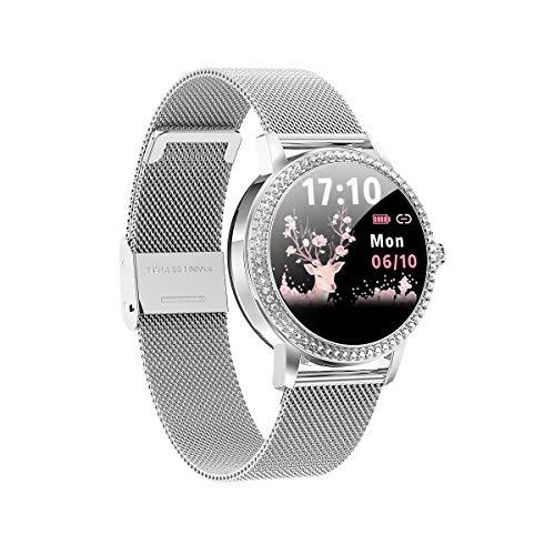 Aliwisdom Smartwatch für Damen, 1,08 Zoll Rund Fashion Smartwatch Fitness Uhr Wasserdicht Sport Armbanduhr Fitness Tracker Metallarmband für iOS Android, Mit Whatsapp SMS-Lesefunktion (Silber)