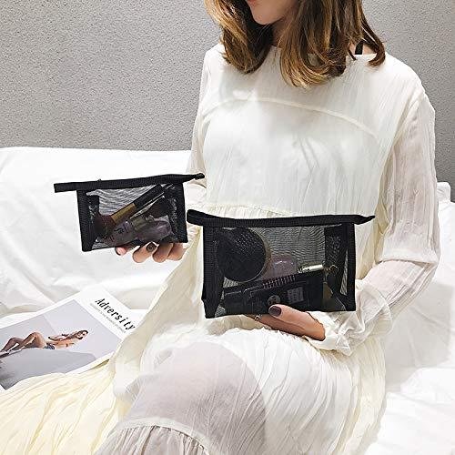 Petit portable grande capacité portable cosmétique portable esprit simple maille transparente de lavage de la poche moyen + petit