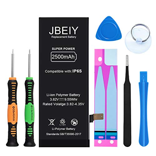 JBEIY Battery Compatible with iPhone 6S, 2500mAh Super High Capacity Replacement Battery New 0 Cycle, with Professional Replacement Tool Kit and Instructions -1 Year Warranty