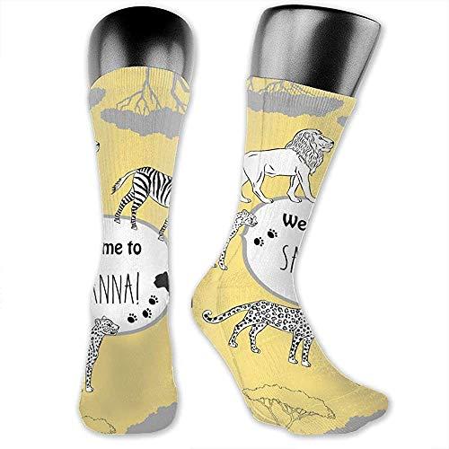 lucies Kniestrümpfe für Männer Frauen Savanna Animal Sports Fußball Socken 30cm