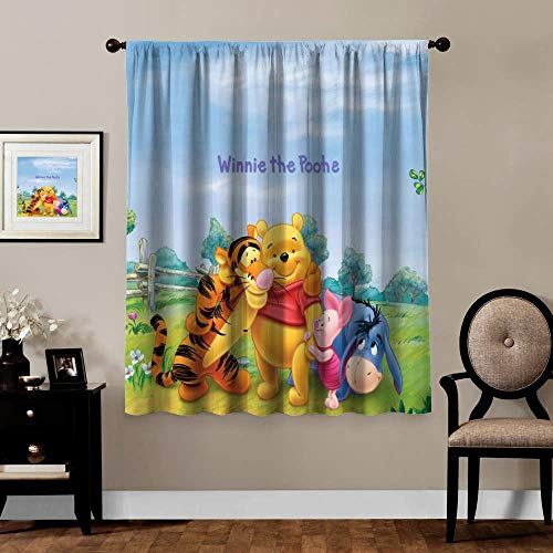 Victoria Anime Blackout Curtains,Winnie The Pooh Bear Piglet Tiger Eeyore (2), Rod Pocket Thermal Insulated Darkening Window Drapes for Bedroom, Cute Animal Boys Girls Room Décor, 2 Panels,55x39 inch