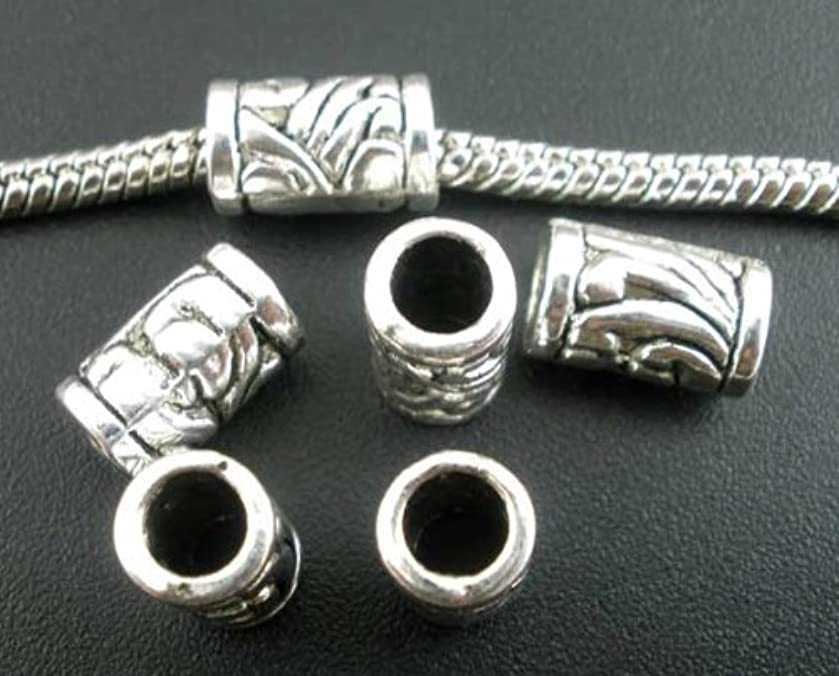 50pc Antique Silver Carved Pattern Tube Spacer Beads Large Hole Fits European...
