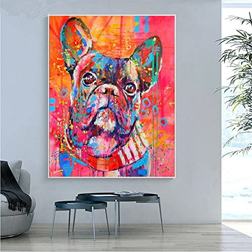 Full Drill DIY 5D Diamond Painting Kits for Adults Kids,French Bulldog Crystal Rhinestone Embroidery Diamond Dot Cross Stitch Arts Crafts for Living Room Home Wall Decor Square Drill,30x40cm(12x16in)